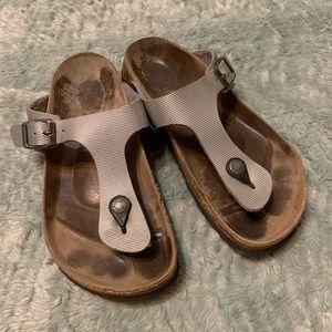 Birkenstock Flip Flops Silver Sandals Size 38